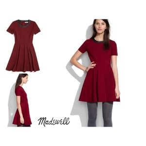 Madewell Wine Colored Fit & Flare Dress Leather